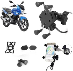 SHOP4U X-Grip Bike Mobile Holder with 2.1A USB Charge for Hero Glamour
