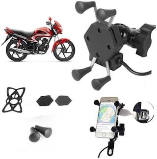 SHOP4U X-Grip Bike Mobile Holder with 2.1A USB Charge for Honda CD 110 Dream