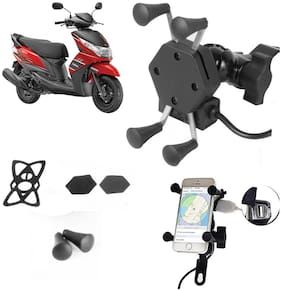 SHOP4U X-Grip Bike Mobile Holder with 2.1A USB Charge for Yamaha Ray Z