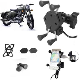 SHOP4U X-Grip Bike Mobile Holder with 2.1A USB Charge for Royal Enfield Classic 500