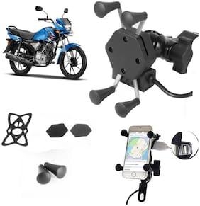 SHOP4U X-Grip Bike Mobile Holder with 2.1A USB Charge for Yamaha Saluto RX