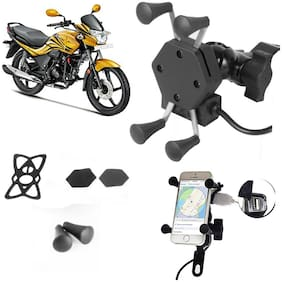 SHOP4U X-Grip Bike Mobile Holder with 2.1A USB Charge for Hero Passion X Pro