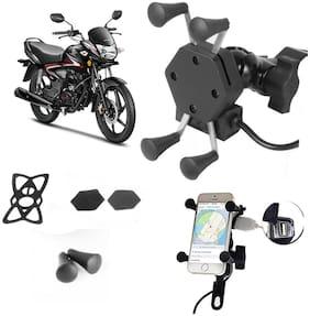 SHOP4U X-Grip Bike Mobile Holder with 2.1A USB Charge for Mahindra Mojo