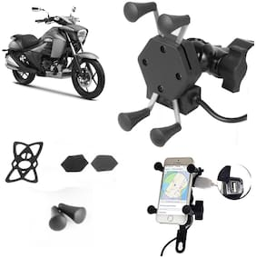SHOP4U X-Grip Bike Mobile Holder with 2.1A USB Charge for Suzuki  Intruder 150