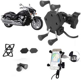 SHOP4U X-Grip Bike Mobile Holder with 2.1A USB Charge for bajaj Discover 150S