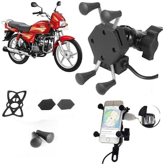 SHOP4U X-Grip Bike Mobile Holder with 2.1A USB Charge for Hero Splendor Plus