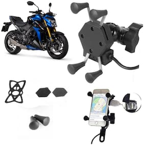 SHOP4U X-Grip Bike Mobile Holder with 2.1A USB Charge for Suzuki GSX S1000