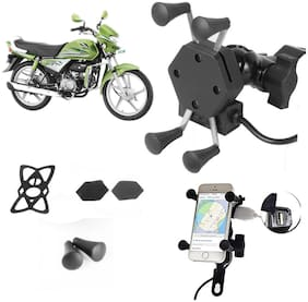 SHOP4U X-Grip Bike Mobile Holder with 2.1A USB Charge for Hero HF Deluxe Eco