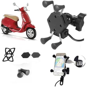 SHOP4U X-Grip Bike Mobile Holder with 2.1A USB Charge for PIAGGIO VESPA RED 125