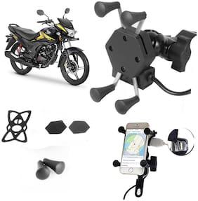 SHOP4U X-Grip Bike Mobile Holder with 2.1A USB Charge for Honda CB Shine SP