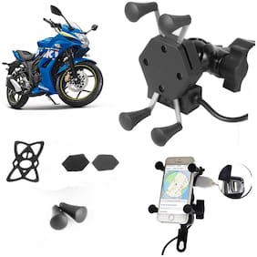 SHOP4U X-Grip Bike Mobile Holder with 2.1A USB Charge for Suzuki Gixxer SF