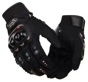 SHOPELEVEN Probiker Gloves Shockproof Foam Padded Outdoor Riding Full Finger Glove For Men Black Color