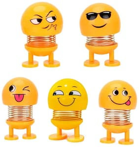Shopiral Smiley Spring Doll, Cute Emoji Bobble Head Dolls Car Ornaments Bounce Toys, Emoticon Figure Funny Smiley Face Springs Car Decoration for Car Interior Dashboard Expression (Pack of 5)