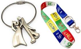 SHOPPIK PRO Tibetan Ladakh Prayer Words Logo Lanyard Keychain Tag ID Card Badge Holder Fabric Hook Keychain- Long & Romantic Love Dancing Wired Couple Keychain Combo-Multicolor-2 Keychains