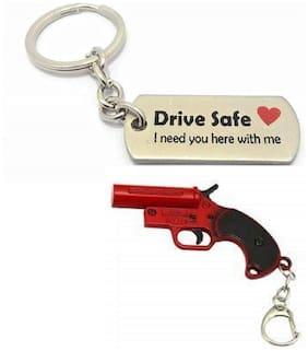 SHOPPIK PRO Drive Safe Keychain & PUBG  Metal Keychain Keyring Multicolor Pack of 2 Keychains