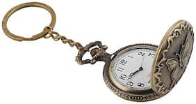 Shubheksha Butterfly Design Pocket Watch Working Clock Metallic Key Chain