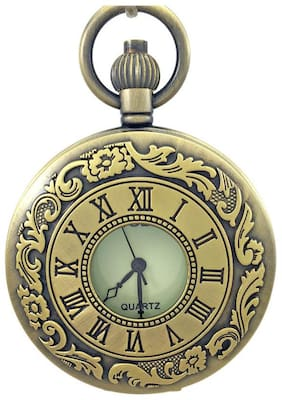 Shubheksha Designer Pocket Watch Vintage Clock Birthday Gift for Friend Metallic Keyring Key Chain