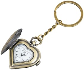Shubheksha Heart Design Pocket Watch Metallic Key Chain