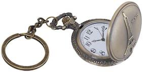 Shubheksha Paris Eiffel Tower Theme Designer Pocket Watch Vintage Clock Birthday Gift for Friend Metallic Keyring Key Chain