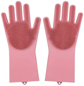 Silicon Non-Slip Hand Gloves for Kitchen,Utensils, Bath and pet Hair Care - Reusable Heat Resistance and Water Proof