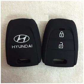 Silicone Key Cover for Hyundai Grand I10 2 Button Remote Key (Black)