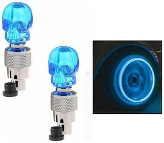 Skull Shaped Tyre LED True Visiontion Sensor Set of 2-Blue-For Cars