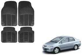 Skynex Black Rubber Floor/Foot Mat Set Of 4  For Honda City