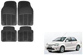 Skynex Black Rubber Floor/Foot Mat Set Of 4  For Toyota Etios