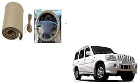 Skynex Stitchable Leatherette Car Steering Wheel Cover Grip Beige For Mahindra Scorpio