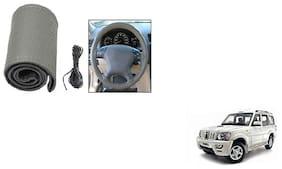Skynex Stitchable Leatherette Car Steering Wheel Cover Grip Grey Mahindra Scorpio type 2