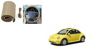 Skynex Stitchable Leatherette Car Steering Wheel Cover Grip Beige For Volkswagen Beetle
