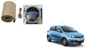 Skynex Stitchable Leatherette Car Steering Wheel Cover Grip Beige For Tata Tiago