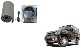 Skynex Stitchable Leatherette Car Steering Wheel Cover Grip Grey Mahindra Bolero New Type 2