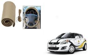 Skynex Stitchable Leatherette Car Steering Wheel Cover Grip Beige For Maruti Suzuki Swift New (Type 2)