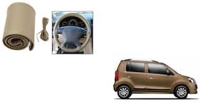 Skynex Stitchable Leatherette Car Steering Wheel Cover Grip Beige For Maruti Suzuki WagonR