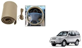 Skynex Stitchable Leatherette Car Steering Wheel Cover Grip Beige For Tata Safari