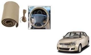 Skynex Stitchable Leatherette Car Steering Wheel Cover Grip Beige For Maruti Suzuki Dzire Old