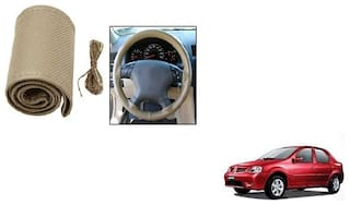 Skynex Stitchable Leatherette Car Steering Wheel Cover Grip Beige For Hyundai Santro Xing
