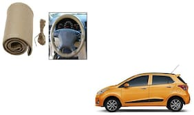Skynex Stitchable Leatherette Car Steering Wheel Cover Grip Beige For Hyundai Grand i10