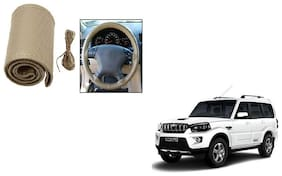 Skynex Stitchable Leatherette Car Steering Wheel Cover Grip Beige For Mahindra Scorpio new