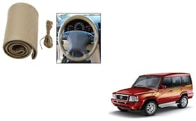 Skynex Stitchable Leatherette Car Steering Wheel Cover Grip Beige For Tata Sumo type 1