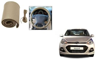Skynex Stitchable Leatherette Car Steering Wheel Cover Grip Beige For Hyundai Xcent type 1