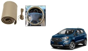 Skynex Stitchable Leatherette Car Steering Wheel Cover Grip Beige For Ford EcoSport