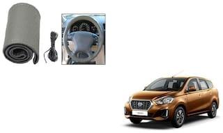Skynex Stitchable Leatherette Car Steering Wheel Cover Grip Grey Datsun go Plus