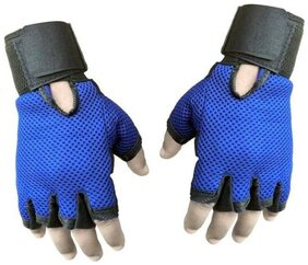Snipper Heavy Leather Netted Gym & Fitness Gloves (Free Size, Blue)