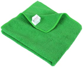 SOBBY Microfiber Car Cleaning Detailing & Polishing Cloth ( 300 GSM - 40cm x 40cm - Green - 1 pc)