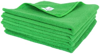 SOBBY Microfiber Car Cleaning,Detailing & Polishing Cloth - Set of 4-300 GSM (40cm x 40cm, Green)