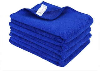 SOBBY Microfiber Car Cleaning,Detailing & Polishing Cloth - Set of 4-300 GSM (40cm x 60cm, Blue)
