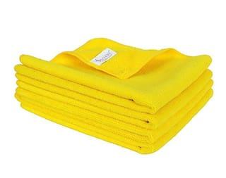 SOBBY Microfiber Car Cleaning,Detailing & Polishing Cloth - Set of 4-300 GSM (40cm x 40cm, Yellow)