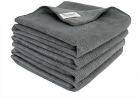 SOBBY Microfiber Car Cleaning,Detailing & Polishing Cloth - Set of 4-300 GSM (50cm x 50cm, Grey)